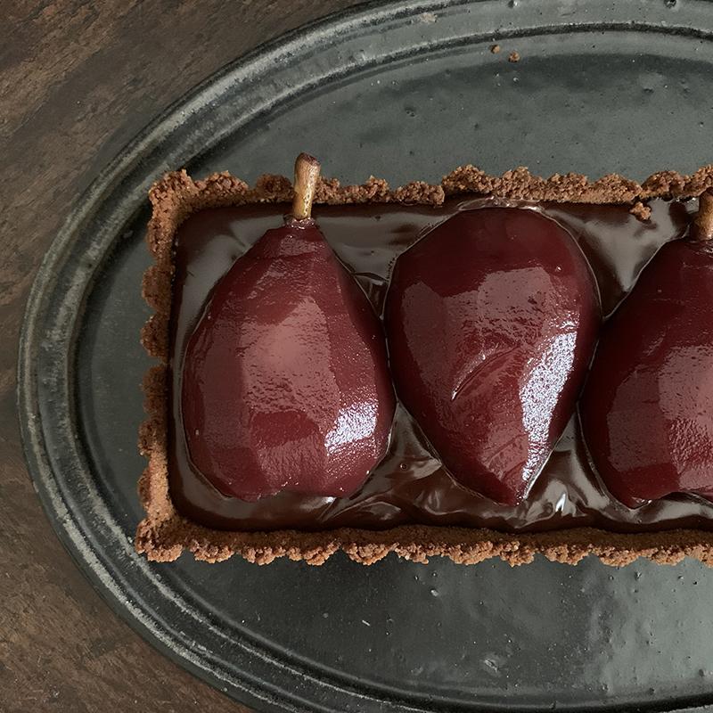 洋梨コンポートのチョコタルト Chocolate Tart with Pear Compote