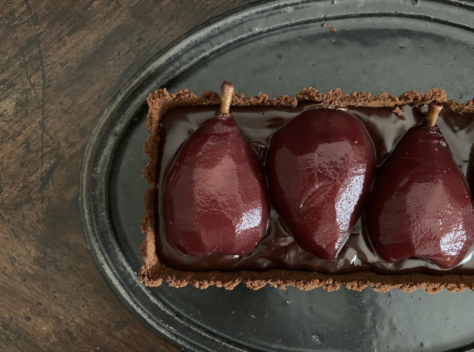 洋梨コンポートのチョコタルト
