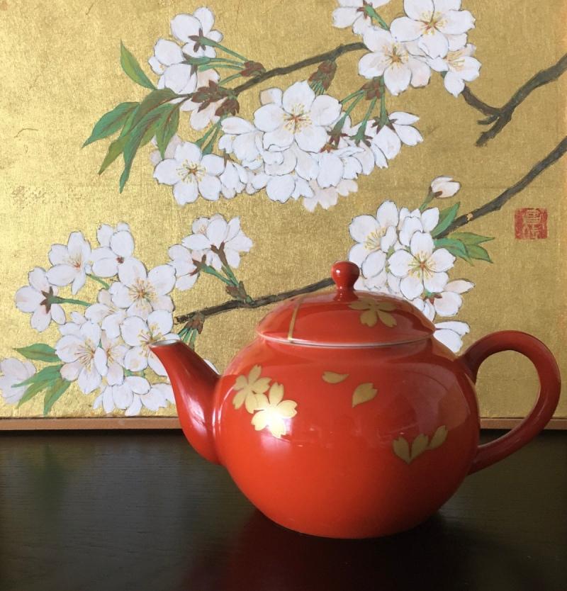 深川製磁の桜の急須