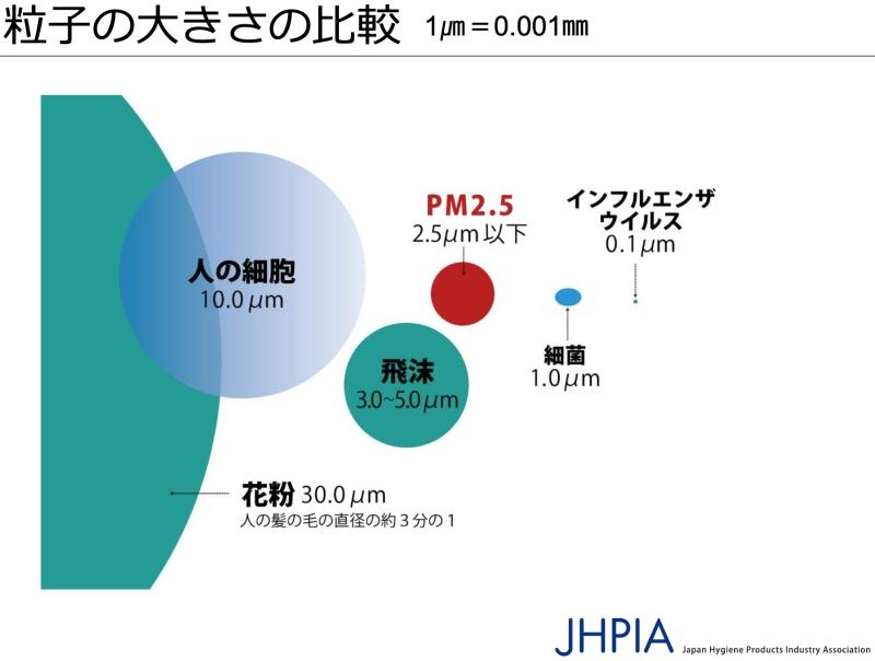 粒子の大きさの比較図
